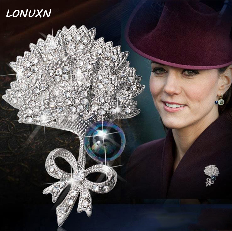 57mm*42mm Women Jewelry Silver Brooches Ginkgo leaf pearl Flowers Fashion Romantic Brooch pins Simple design popular for women цена