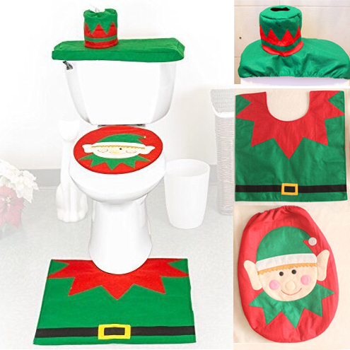New 1Lot Green Elves Toilet Seat Cover and Rug Bathroom Set Christmas Decorations Home Da Decoracao De Natal Adornos Navidad