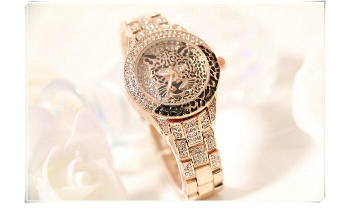 Women Diamond Stone Tiger Watch