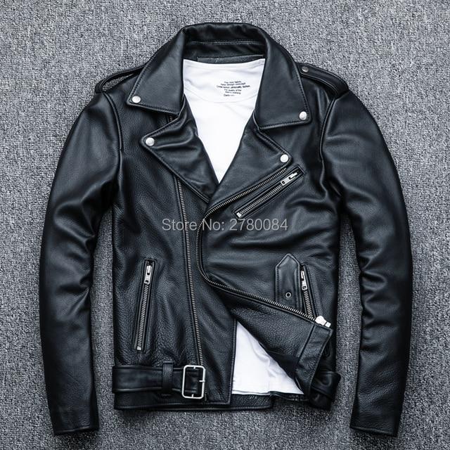 Fábrica de colarinho turn-down jaqueta de couro genuíno para homens couro real casaco de couro masculino do punk motocicleta dragona terno