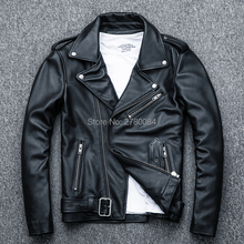 Factory  turn-down collar genuine leather jacket for men rea