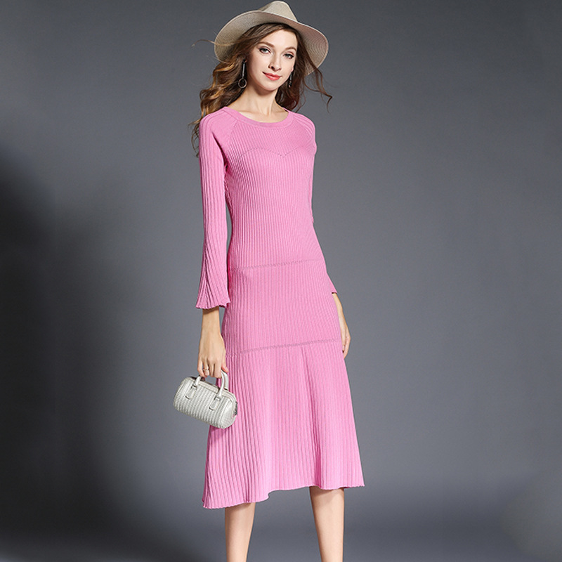 2018 Spring New Casual long knitted Sweater Dress Women Slim Bodycon Dress Pullover Female Sexy Backless Pink Black Dress Knit long sleeve sweater dress solid knitted side slit high waist vestidos women spring bodycon sexy dress midi dress female clothing