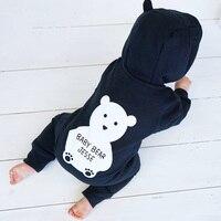 لطيف الخريف الشتاء القطن البوليستر رومبير الدب نمط طويل كم المعطف مقنعين الرضع بذلة من قطعة toodler
