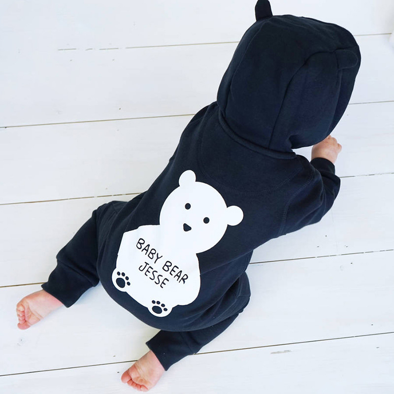 Cute Autumn Winter Cotton Polyester Baby Romper Bear Style Long Sleeve Coverall Hooded Infant Jumpsuit One Piece for Toodler unisex winter baby clothes long sleeve hooded baby romper one piece covered button infant baby jumpsuit newborn romper for baby
