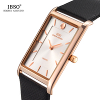 IBSO 6MM Ultra Thin Rectangle Dial Business Watch Men Black Genuine Leather Strap Classic Quartz Wristwatch