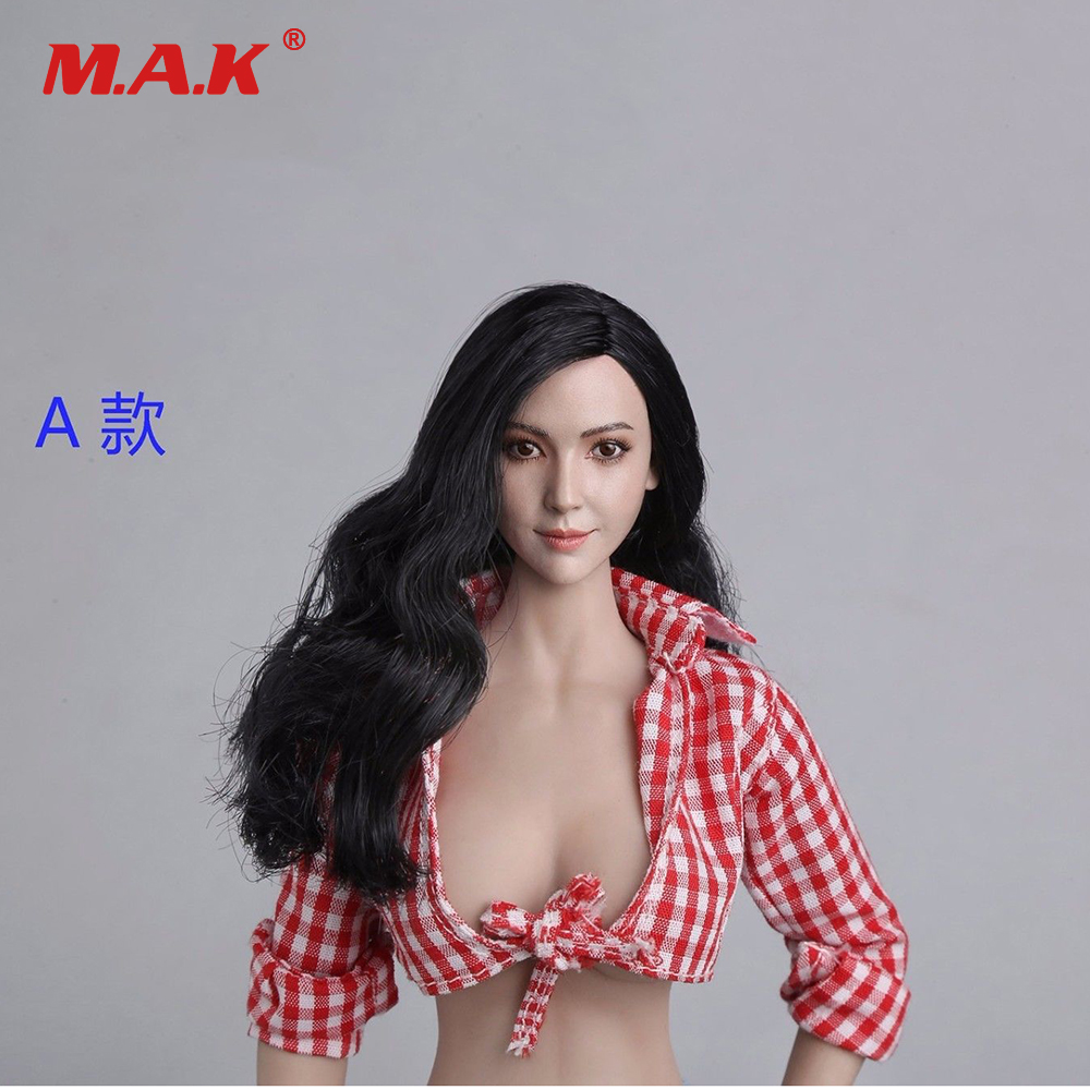 1/6 Scale Female Figure Accessories Long Hair Woman Head Sculpt Carving Model for 12 Action Figures 1 6 scale asian female head sculpt with black long hair models toys for 12 female action figure