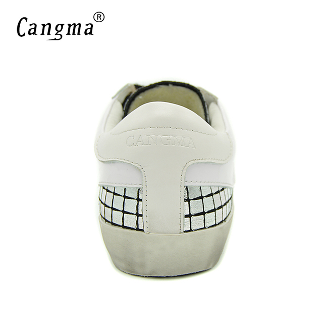 CANGMA Fashion Retro Brand Sneakers Men Silver Shoes Genuine Leather Breathable Lace-up Shoes Male Casual Shoes Man Flats