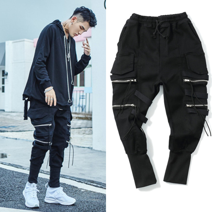 2018 New men's fashion Stereo pocket overalls loose personality Haren pants feet high street ankle banded pants hip-hop costumes