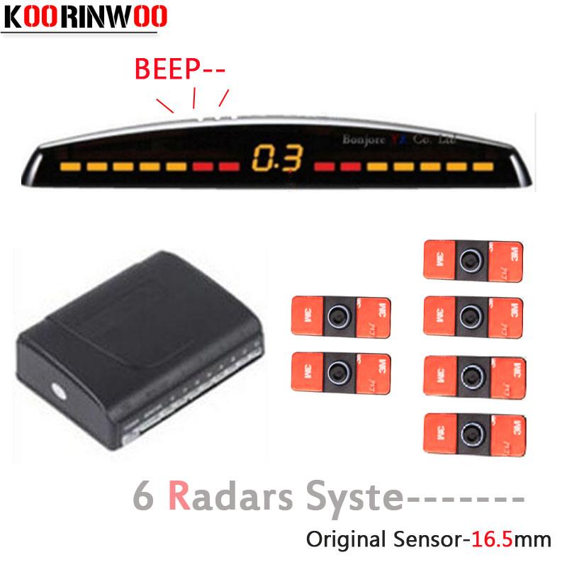 Koorinwoo LCD Monitor Colorful Car Parking Sensor 6 Radars 2 Front 4 Back Probes Parktronic System Auto detector Assist Jalousie