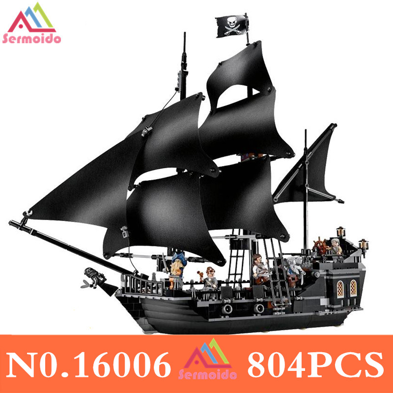 sermoido Pirates of the Caribbean The Black Pearl Pirate Ship Model set Building Blocks Kits bricks Toys for Children DBP203 cx 16006 models building toy kits pirates of the caribbean the black pearl ship building brick blocks compatible with lego 4184
