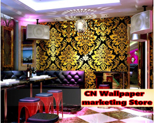 beibehang papel de parede TV wall paper KTV hotel decoration golden yellow gold European background wallpaper behang beibehang pvc wallpaper glitter wall paper roll shine wall covering for home decoration for ktv papel de parede listrado