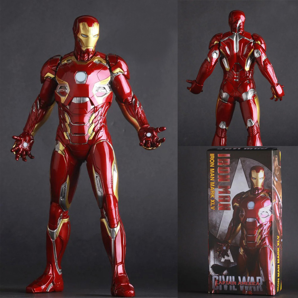 12 30CM Crazy Toys The Avengers Captain America Civil War Iron Man Mark XLV MK 45 PVC Action Figure Collectible Model Toy statue avengers captain america 3 civil war iron man tony stark 1 2 bust mk33 half length photo or portrait with led light w216
