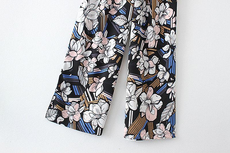 Floral Print Bow Waist Sleeveless Wide Leg Jumpsuit