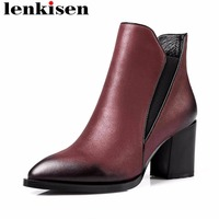 Lenkisen zipper vintage pointed toe big size genuine leather thick high heels movie stars mature woman slip on ankle boots L2f7