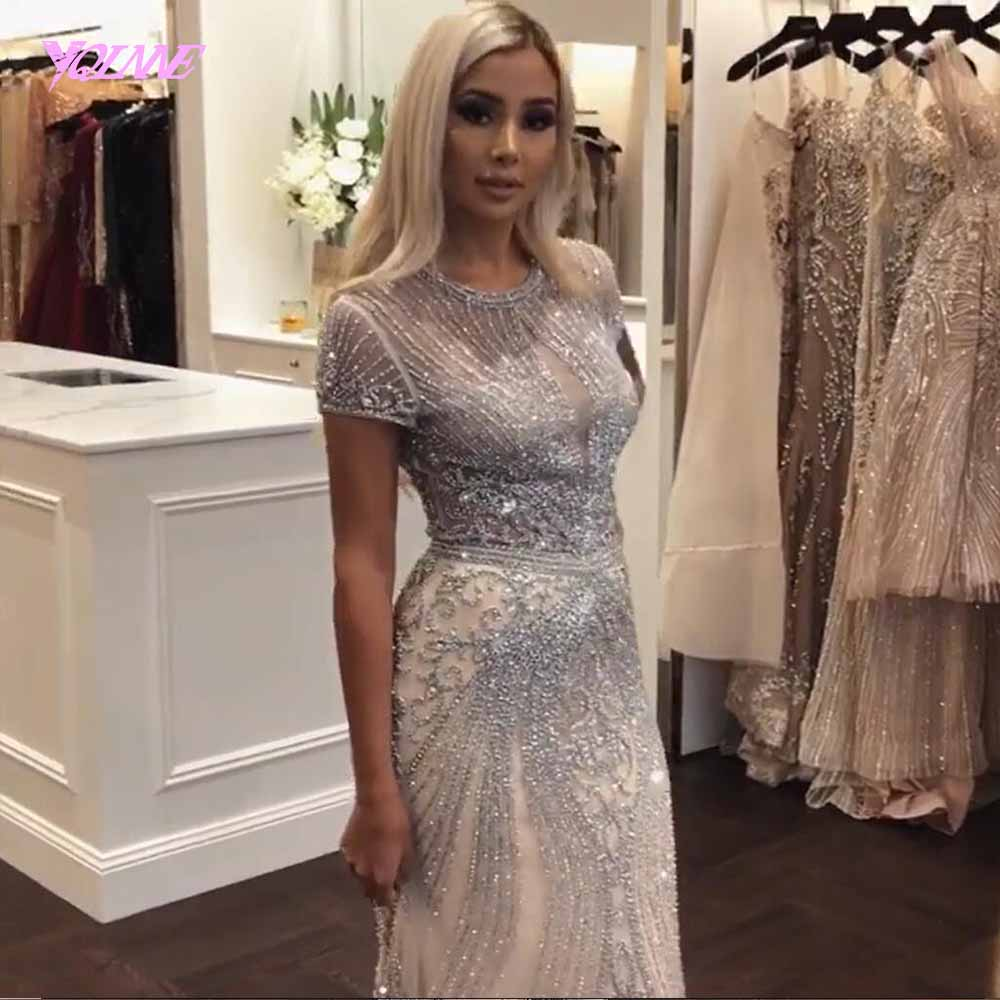 a973a9d759 YQLNNE 2019 Luxury Rhinestones Nude Mermaid Evening Dress Long Evening  Pageant Dresses Formal Gown Robe De Soiree