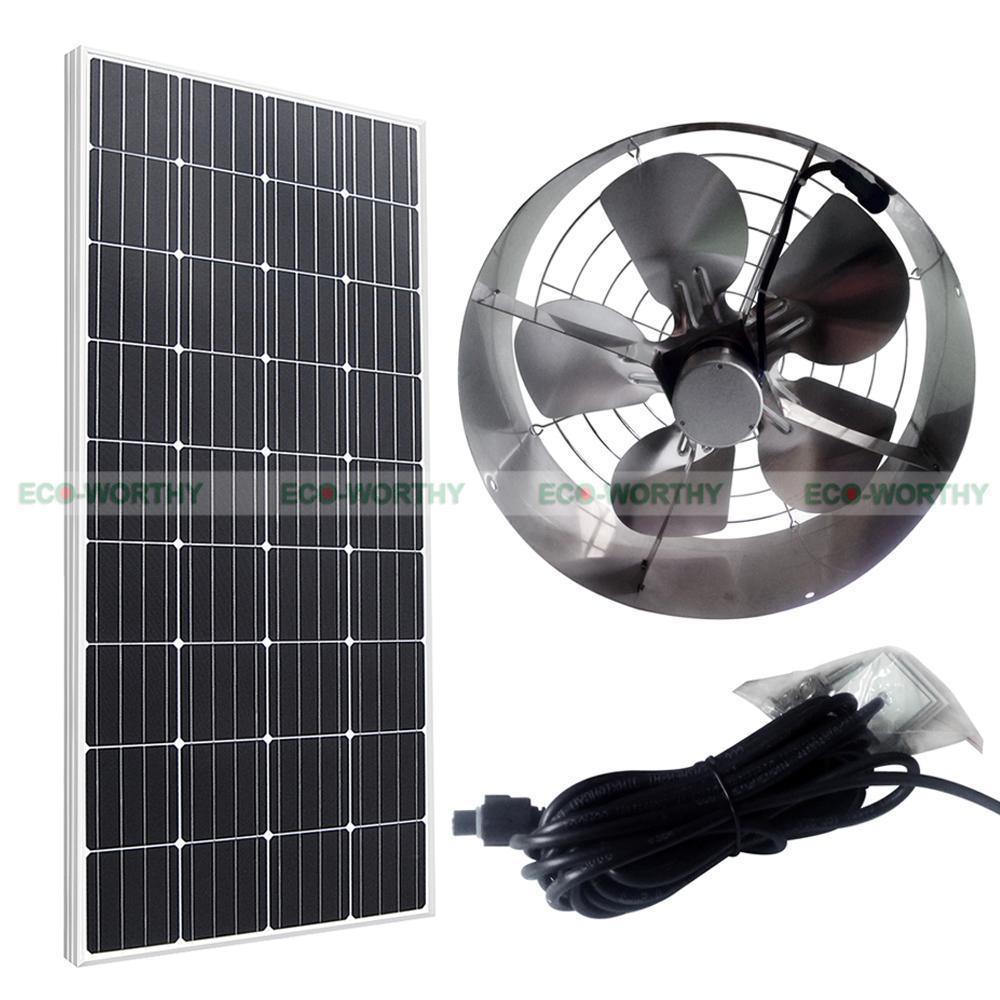 Solar Powered 65W Attic Ventilator Roof Vent Fan W/ 100W 12V Mono Solar Panel