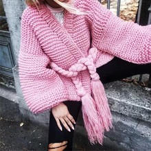 MUXU PINK women fashion cardigan sweater abrigo mujer long sleeve knitted loose chompas largas y sueltas para