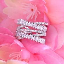 Janekelly Роскошные AAA фианит Micro Pave Установка нескольких слоистых ясно камень полный палец кольцо, блестящий аксессуары