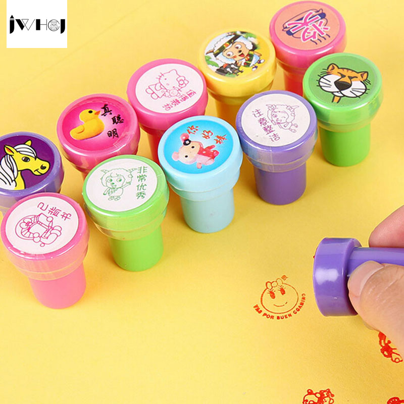 Cartoon round Stamp children diy Handmade Scrapbook Album students Stamps Diary Decorazioni Forniture teacher seal kids toy gift jwhcj vintage cat date wood roller stamps for children diy handmade scrapbook photo album diary book decoration students stamps