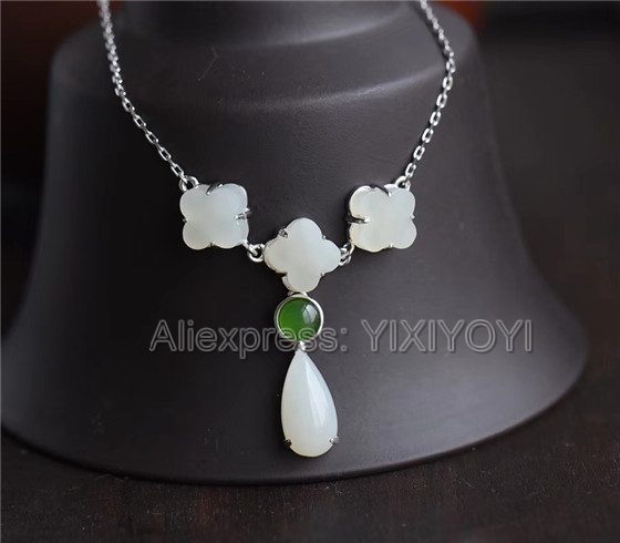 925 Sterling Silver White HeTian Jade Beads Inlay Dropping Dangle Lucky Pendant + Chain Necklace Womans Fine Jewelry Charm Gift925 Sterling Silver White HeTian Jade Beads Inlay Dropping Dangle Lucky Pendant + Chain Necklace Womans Fine Jewelry Charm Gift