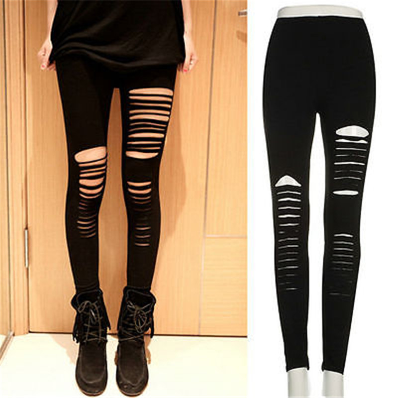 Mid-Calf Leggings Fashion Woman Punk Holes Torn With Opening Split Leggings Gothic Party Hollow Cotton Irregular Front Hole