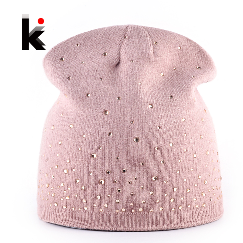 2017 Women's Fashion Rhinestone Beanies Hat Solid Knitted Skullies Bonnet Caps Ladies Winter Knitting Rabbit Wool Hat Female cap the new children s cubs hat qiu dong with cartoon animals knitting wool cap and pile