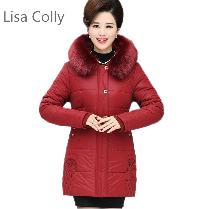 Lisa Colly Fashion Mother's Coat Woman Fake fur collar Parkas Loose New autumn winter jacket Mother's Cotton coat L-4XL Size lisa corti сандалии