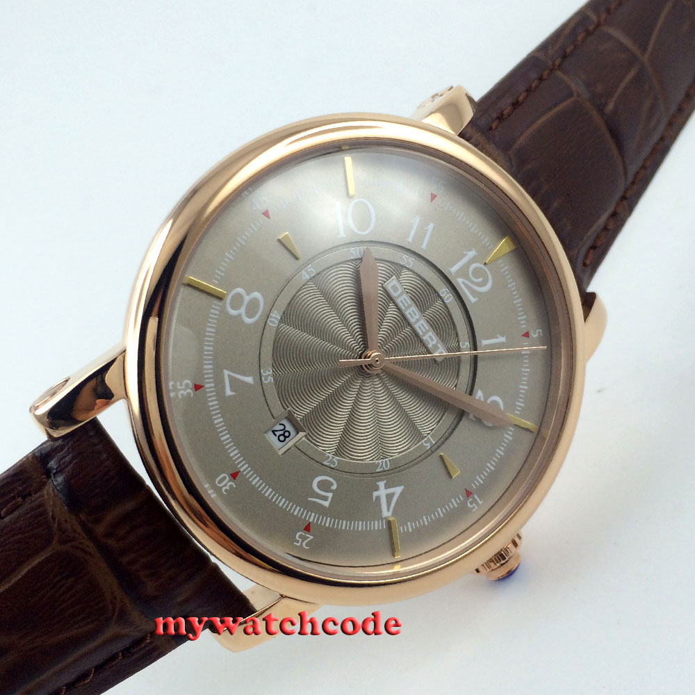 debert gray dial rose gold case 21 jewels miyota Automatic mens wrist Watch D4 цена и фото