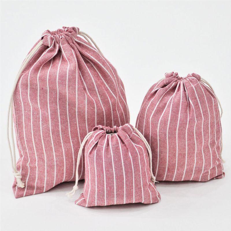 1PC Christmas Candy Party Bag Cotton Linen Drawstring Tea Gift Portable Bags Makeup Bag For Travel Drawstring Bags