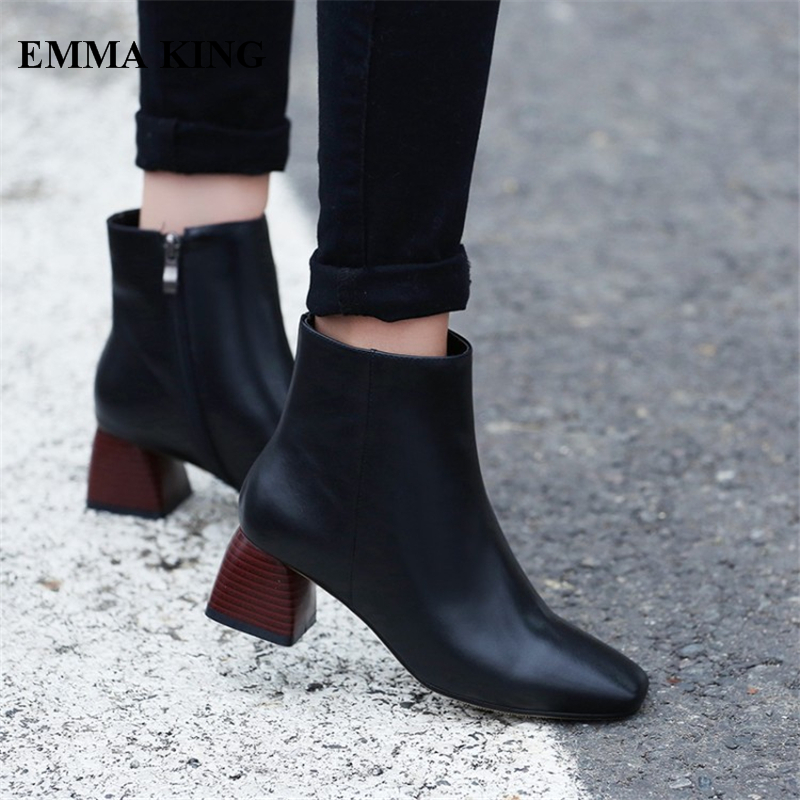 EMMA KING 2018 New Genuine Leather Vintage Ankle Boots Women Square Toe Thick Heels Short Booties Casual Dress Zapatos De MujerEMMA KING 2018 New Genuine Leather Vintage Ankle Boots Women Square Toe Thick Heels Short Booties Casual Dress Zapatos De Mujer