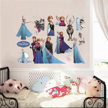 Cartoon Olaf Sven Kristoff Hans Anna Elsa Princess Frozen Theme Wall Stickers Home Decoration Anime Movie Mural Art Kids Decals