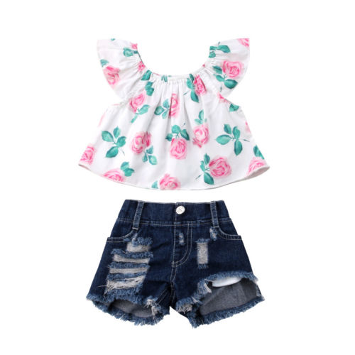 Toddler Kids Baby Girl Flower Ruffles Off Shoulder Blouse Tops Denim Shorts Outfits Clothes Fashion Summer Clothing Set