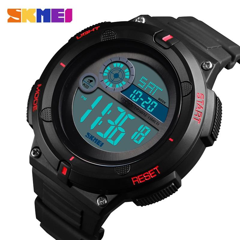 SKMEI Waterproof Watch Digital Alarm-Clock 2time Sport Date Man Week Para Display El-Relojes