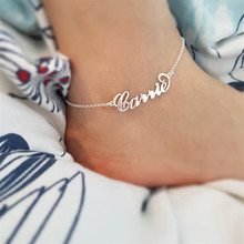 Custom Name Anklet Personality Nameplate Leg Chain Bohemian Ankle Bracelet Boho Jewelry for Women Girls