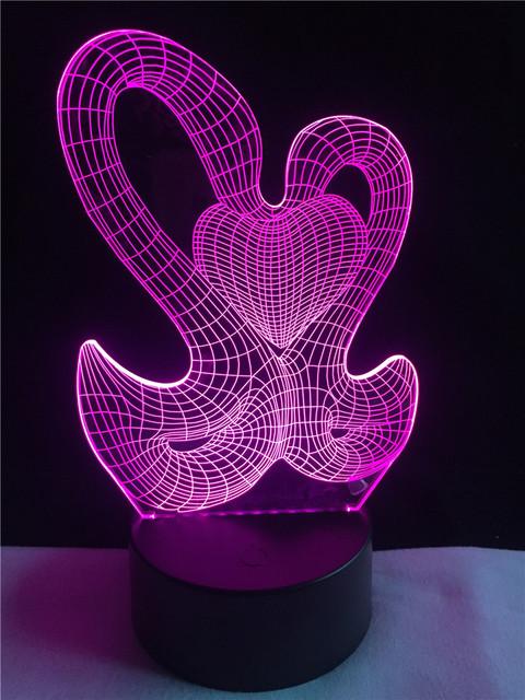 3D LED Hologram – Nočné svetlo –Double Swans