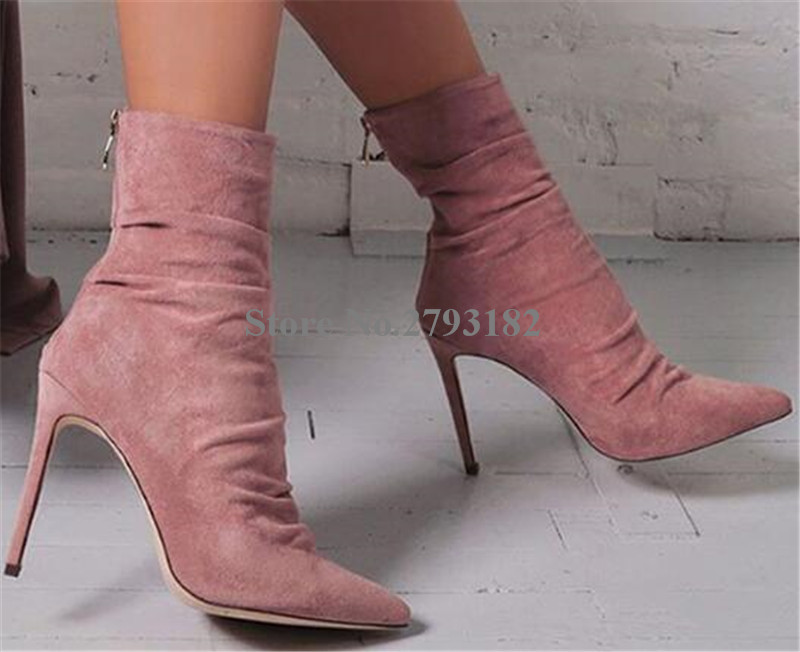 Women Classical Style Pointed Toe Suede Leather Thin Heel Short Boots Zipper-up Pink Blue High Heel Ankle Booties Dress Shoes women new fashion pointed toe black suede thin heel short boots lace up high heel ankle booties classical style boots