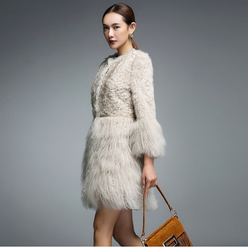 2018 new arrival women genuine sheep fur coat Mongolia fur cuff winter outwear Sheep Fur Parka