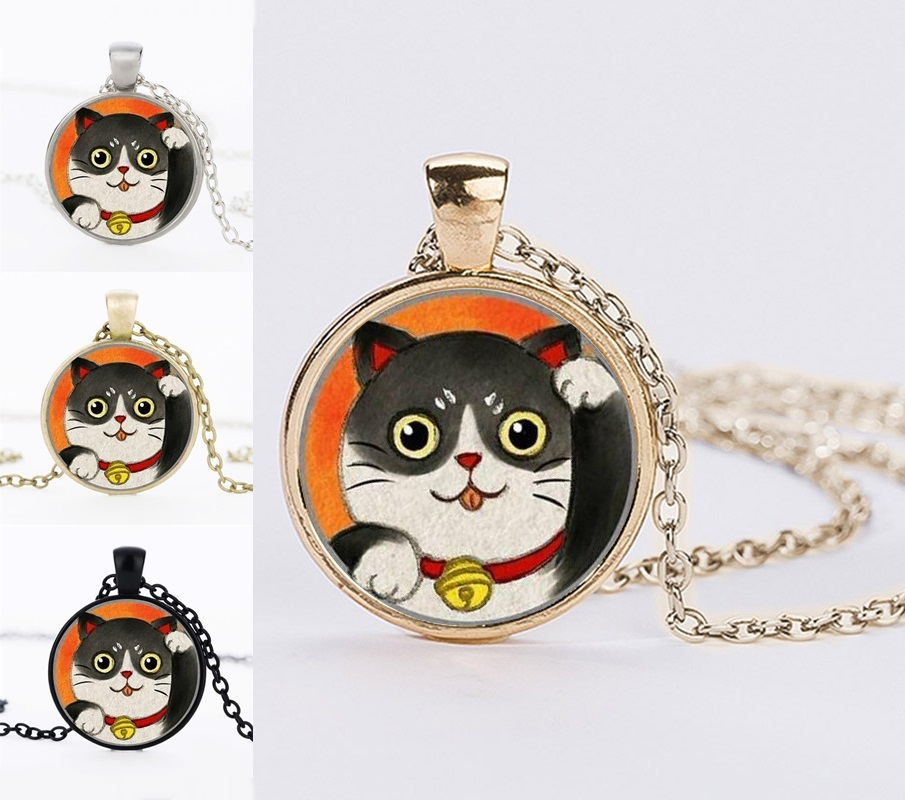 2017 Best Friends Necklaces Gifts Lucky Cat Anime Statement Necklaces Maneki Neko Charm Pendant Necklaces