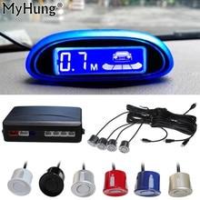 Myhung Sensore di Parcheggio Schermo Blu Auto di Assistenza Al Parcheggio 4 Sensori E Display A Led di Sostegno D'inversione Del Radar Monitor Rivelatore di Sistema