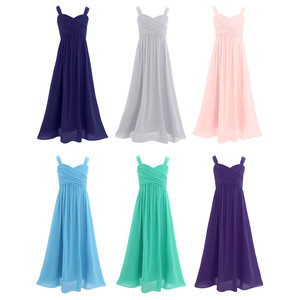 Image 2 - Princess Girls Chiffon Pleated Wide Shoulder Straps Flower Girl Dress Ruched High waisted Sleeveless A Line Wedding Party Dress