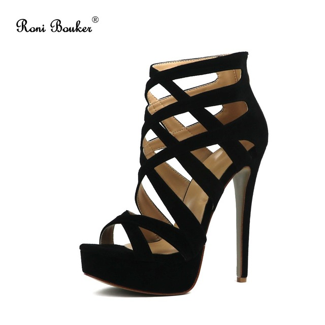 Roni Bouker Free shipping 2018 Summer Platform Sandals Rome Style Sexy 14 CM Women High Heels Open Toe Cut-out Shoes Black