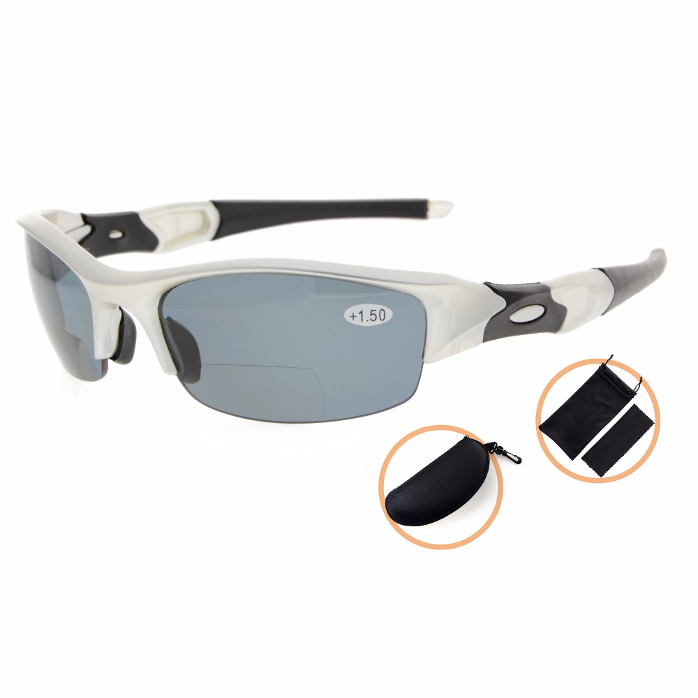TH6166PGSG Eyekepper TR90 Unbreakable Sports Sunglasses Polycarbonate Half Rimless Polarized Bifocal Sunglasses Reading Glasses