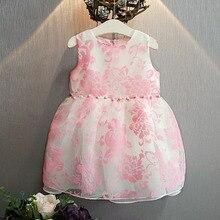 Bosudhsou yyy-43 New Summer Cute Baby Girl Dress Organza Floral Printed Slip Dress Children Kids Clothing dress Ball Gown