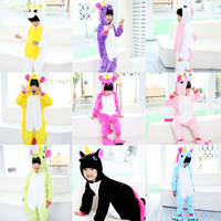 4 12Y Girls Boys Winter Children unicorn Flannel Animal pajamas Kid Clothes Cute pyjamas Hooded Romper Sleepwear Without Shoes