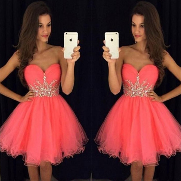 Fuchsia 2019 Homecoming Dresses A-line Sweetheart Short Mini Organza Beaded Crystals Elegant Cocktail Dresses