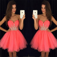 Fuchsia 2018 Homecoming Dresses A line Sweetheart Short Mini Organza Beaded Crystals Elegant Cocktail Dresses