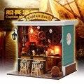 DIY 3D Деревянный Miniaturas Кукольный Дом Капитан Бар LED Мебель Миниатюрный Пылезащитный Чехол Головоломки Кукольный Домик Детский День Рождения Подарки Игрушки