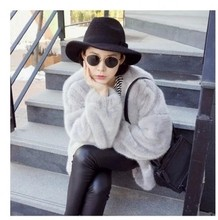 OLGITUM 2017 new fashion winter women's long sleeve  loose coat batwing sleeve fur coats women's winter coat 2 color