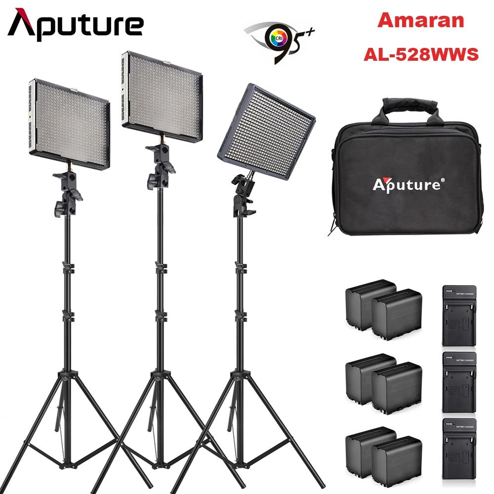 Aputure Amaran 2Pcs AL-528W & 1Pc AL-528S CRI95+ Led Video Studio Panel Light with Battery Pack & Battery Charger Light Stands все цены