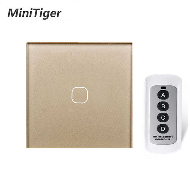 MiniTiger EU/UK Standard 1/2/3 Gang Wireless Remote Control Light Touch Switches, Smart Home RF433 Remote Control Wall Switch